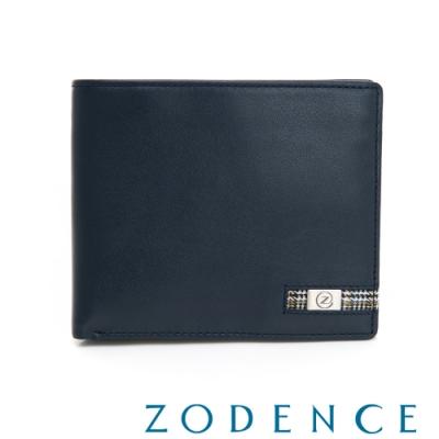 ZODENCE MAN格紋系列進口牛皮對稱11卡短夾 藍