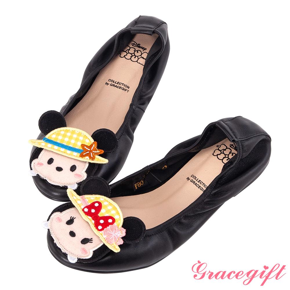 Disney collection by grace gift-全真皮摺疊娃娃鞋 黑