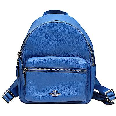 COACH 金屬馬車前拉鍊口袋皮革後背包(藍色)