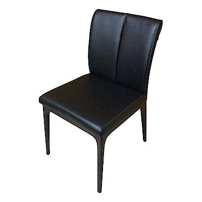 AS-Hazel黑皮實木餐椅-47x54x87cm