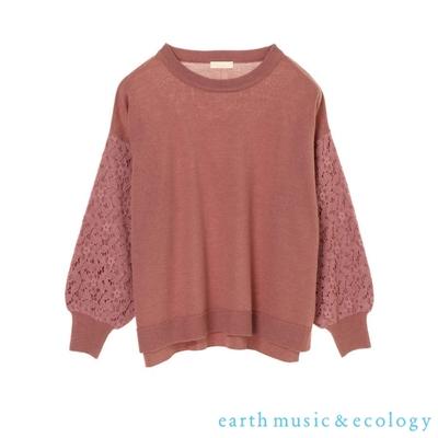 earth music 鏤空蕾絲袖拼接落肩針織上衣