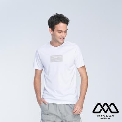 MYVEGA MAN寬鬆潮流印花短袖T恤-白
