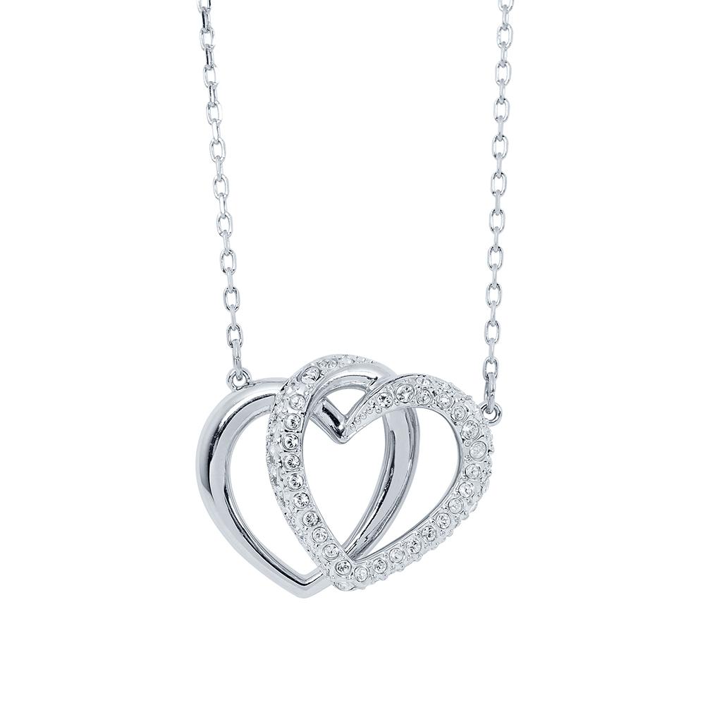 SWAROVSKI 施華洛世奇 雙色心心相印水晶銀色項鍊