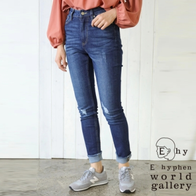 E hyphen 刷破加工處理顯瘦牛仔丹寧窄身褲