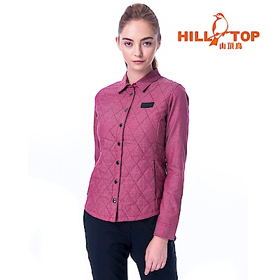 【hilltop山頂鳥】女款ThermoTech保暖長袖襯衫C05F20暗紅色
