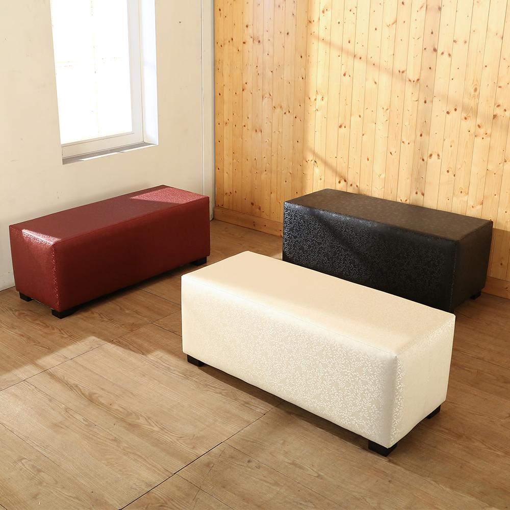 BuyJM典雅花紋珠光皮面床尾椅/穿鞋椅(103x40x46公分)-免組