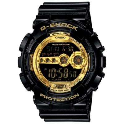 CASIO 卡西歐  G-SHOCK系列 個性時尚LED電子錶-黑x金/55.0mm
