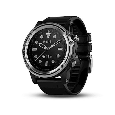 GARMIN Descent MK1 GPS潛水電腦錶-炫銀款(黑色錶帶)