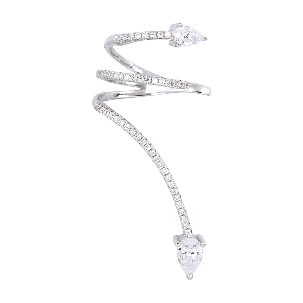 apm MONACO法國精品珠寶 閃耀銀色螺旋鑲鋯耳骨夾耳針式耳環