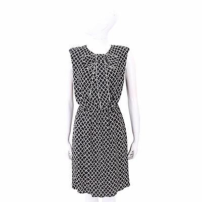 ELISABETTA FRANCHI 菱格印花蝴蝶結黑色雪紡洋裝 @ Y!購物