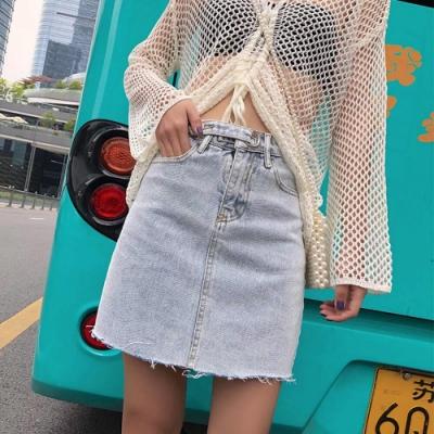 韓版時尚扣飾皮帶淺丹寧毛邊鬚鬚短裙S-XL-WHATDAY