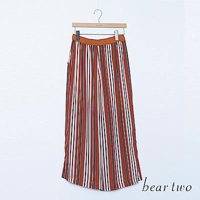 beartwo 配色直條紋垂墜寬褲(三色)