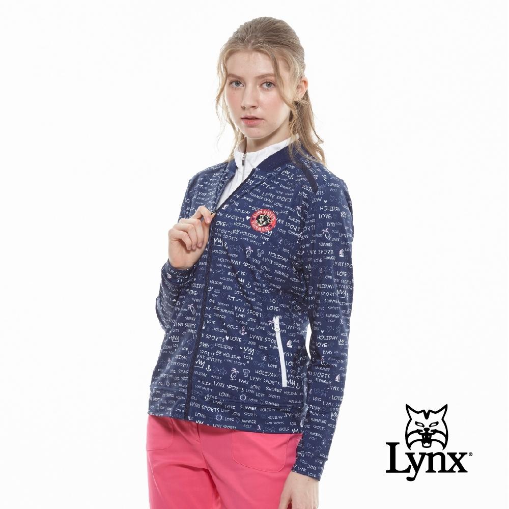 【Lynx Golf】女款吸濕排汗羅紋領滿版印花長袖外套-深藍色