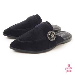 PJ-金屬徽章絨布穆勒鞋-黑色