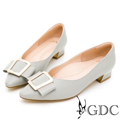 GDC-氣質霧感真皮啞光金扣蝴蝶結尖頭低跟上班素色鞋-淺灰色