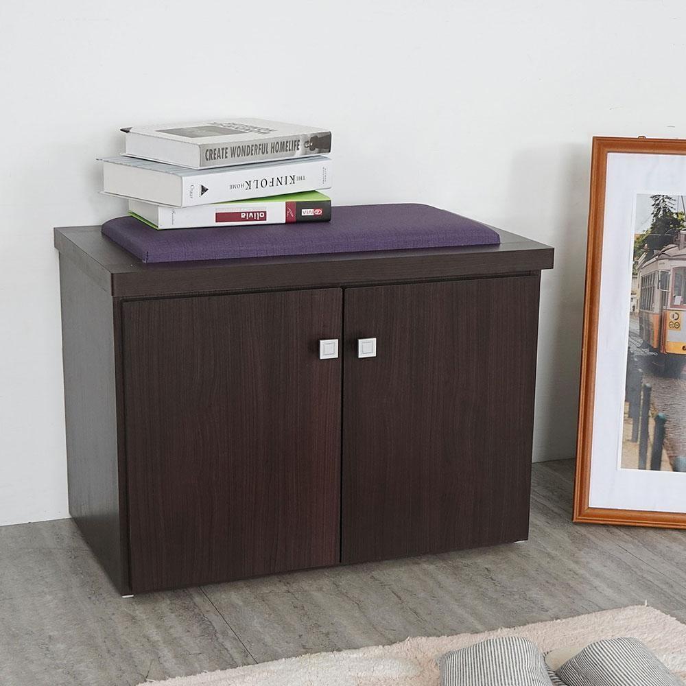 Homelike 巴森2尺坐式鞋櫃(胡桃)-61x36 x46cm-免組裝