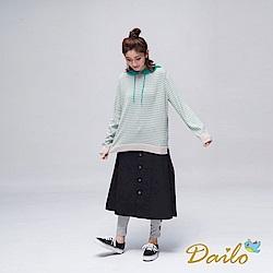Dailo INLook排釦A字長裙(黑)