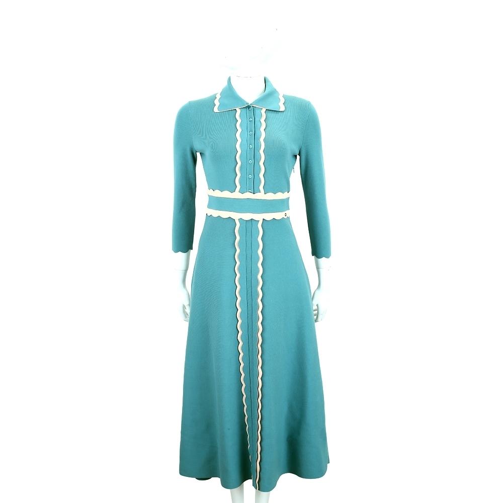 ELISABETTA FRANCHI 花瓣荷葉邊水藍色重磅針織洋裝