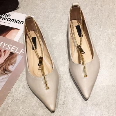 KEITH-WILL時尚鞋館 歡樂單品紛紛揚拉鍊尖頭鞋-卡其