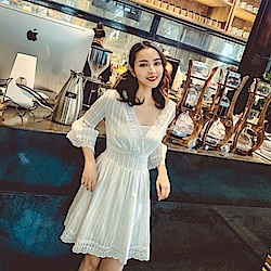 IMStyle 時尚雪紡簍空連身洋裝(白色)