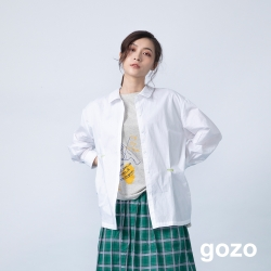 gozo 品牌logo配色繡線壓褶襯衫(二色)