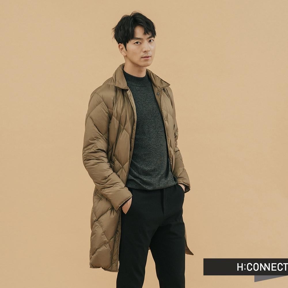 H:CONNECT 韓國品牌 男裝-素面長版羽絨外套 - 卡其(快)