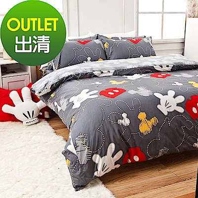 戀家小舖 / 單人床包被套組  米奇塗鴉  100%精梳棉  台灣製