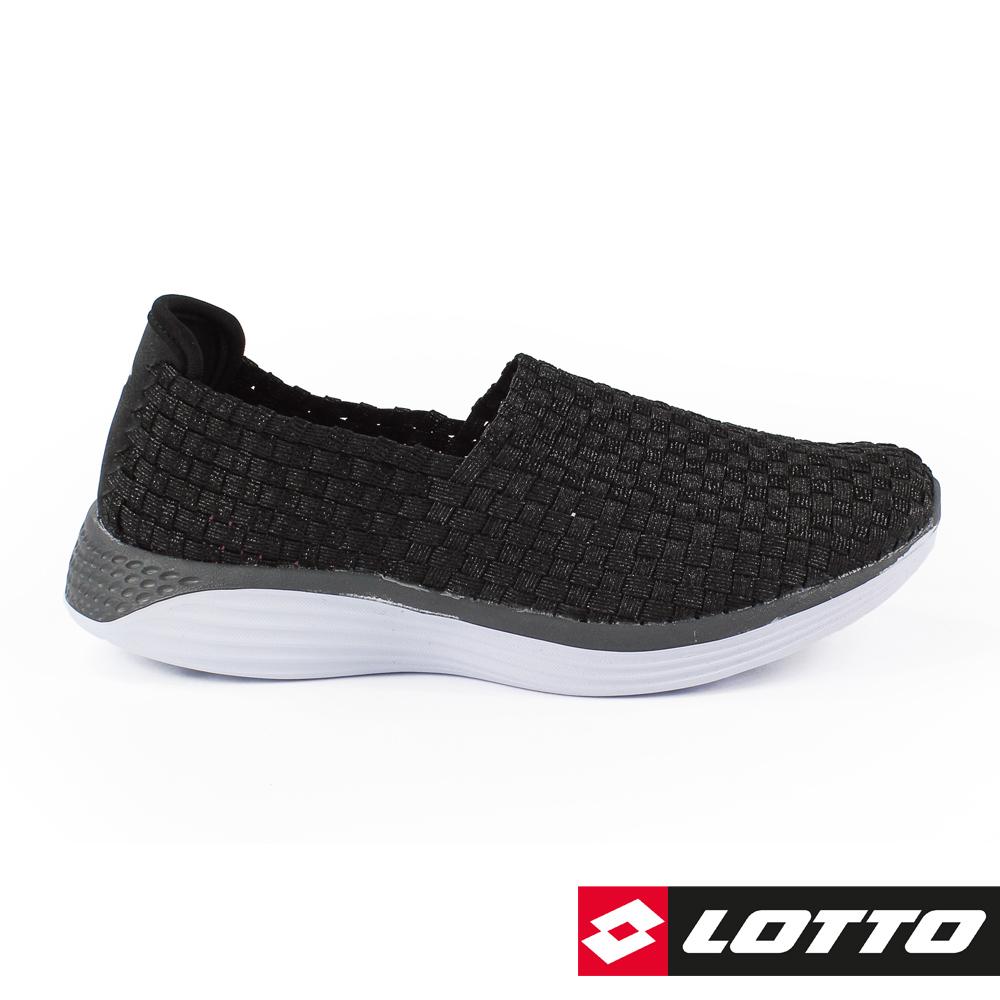 LOTTO 義大利 女 WOVEN 編織健步鞋 (黑色)