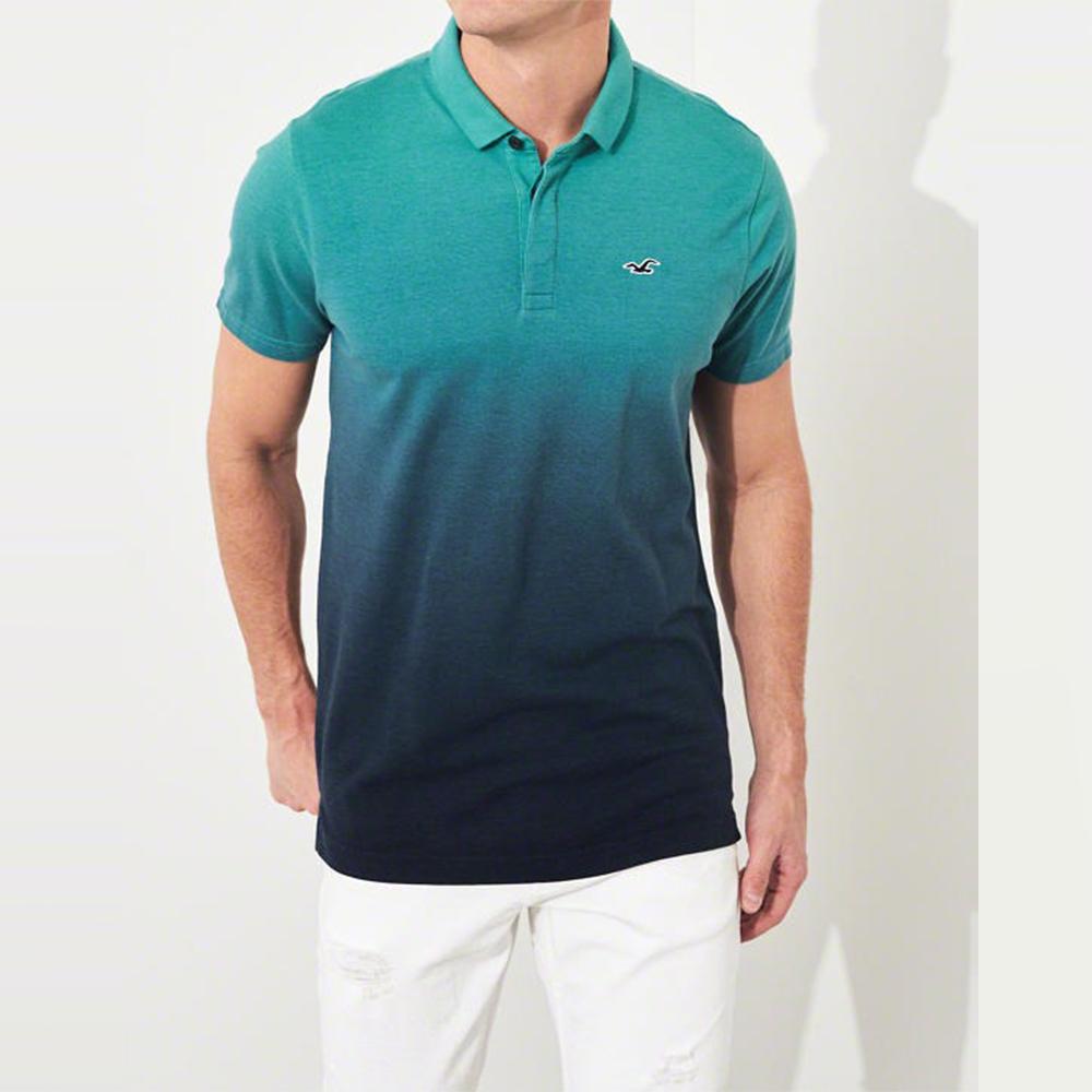 HCO Hollister 海鷗 經典電繡海鷗標短袖Polo衫-漸層藍色
