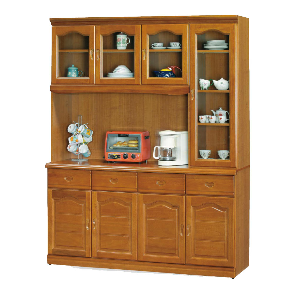 綠活居 尼圖5.3尺實木餐櫃/收納櫃組合(上+下座)-159x42x199.5cm-免組