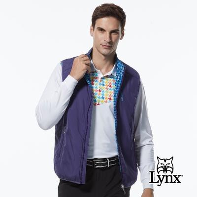 【Lynx Golf】男款薄鋪棉防風保暖Lynx繡花雙面穿千鳥花紋無袖背心-紫/藍色
