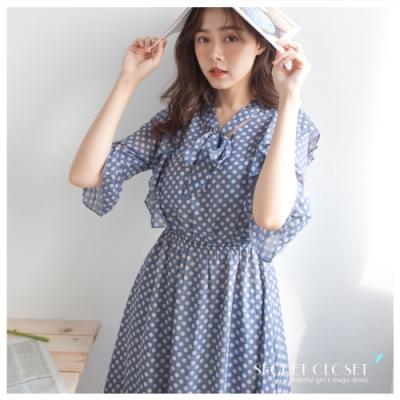 Secret Closet-可愛波點雪紡連身洋裝