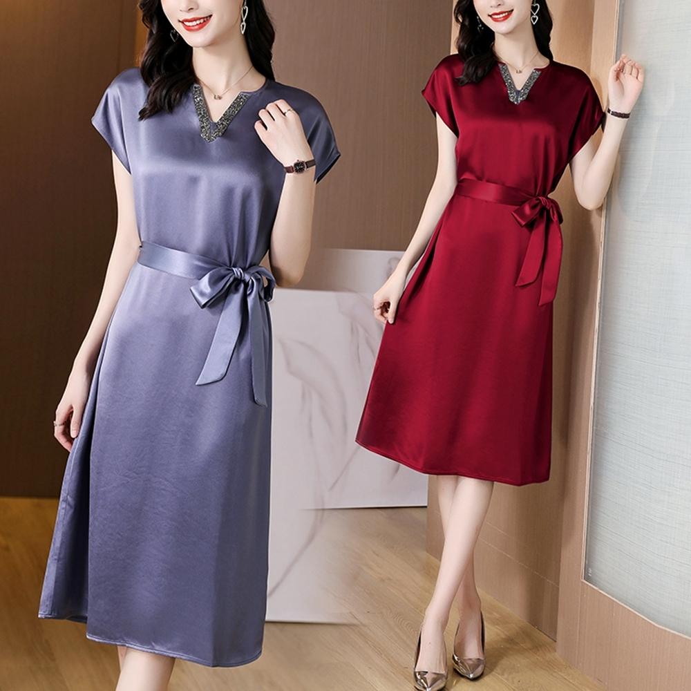 絲滑優雅小V領收腰繫帶氣質連衣裙M-2XL(共二色)-REKO