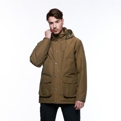 【HAKERS 哈克士】男 滑雪防水鋪棉外套(軍綠色)
