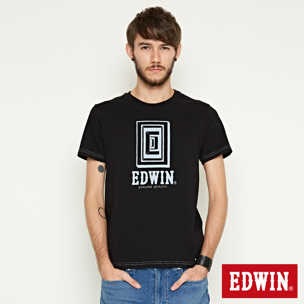 EDWIN 方框LOGO短袖T恤-男-黑色 @ Y!購物