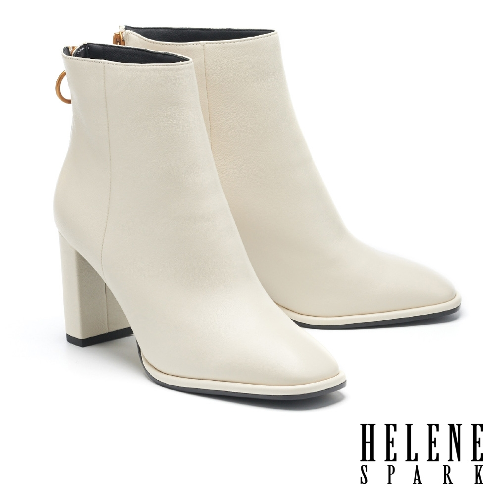 短靴 HELENE SPARK 極簡時髦品味羊皮粗高跟短靴-米