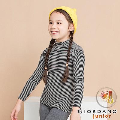 GIORDANO 童裝G-Warmer彈力舒適高領極暖衣- 51 黑x白條紋