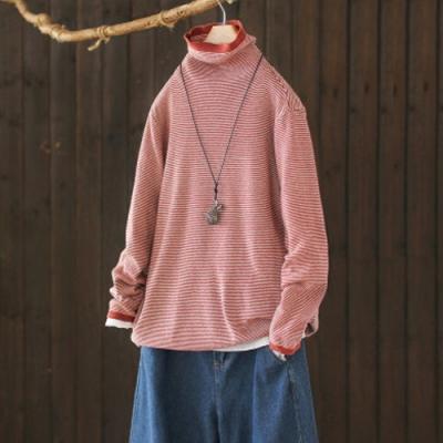 軟糯溫和條紋高領毛衣寬鬆長袖針織衫-設計所在