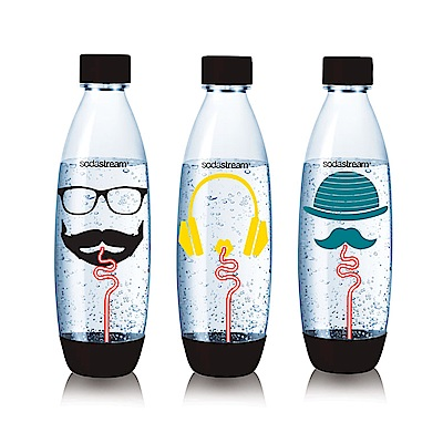 Sodastream  水滴型專用水瓶1L 3入(嬉皮士)