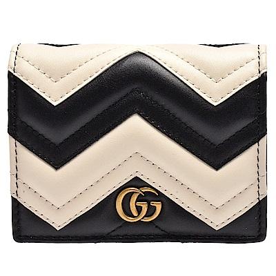 GUCCI matelasse系列絎縫紋牛皮金屬雙G LOGO暗釦卡夾/零錢包(黑X白)