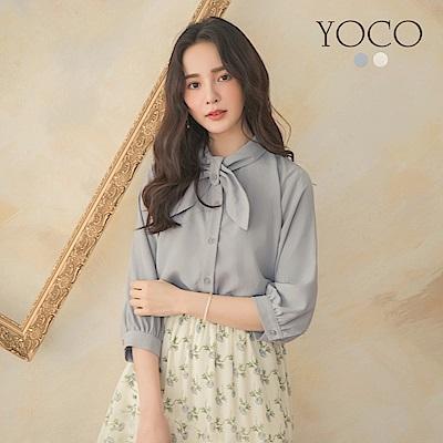 東京著衣-YOCO 唯美優雅領打結排扣公主袖上衣-S.M.L(共兩色)