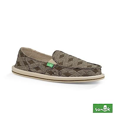 SANUK DONNA QUILT 菱格紋帆布懶人鞋-女款(綠色)