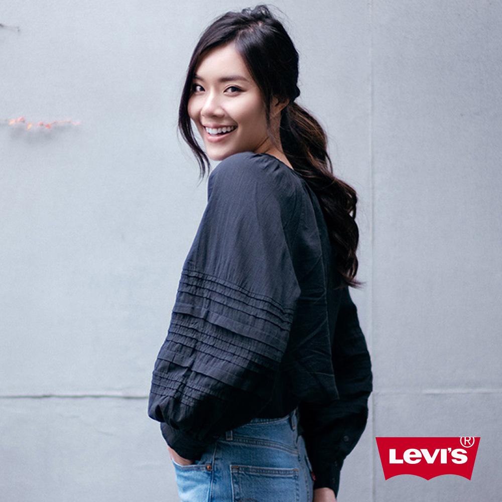 Levis 女款 長袖襯衫 寬鬆燈籠袖 立體褶皺細節 Lyocell天絲棉
