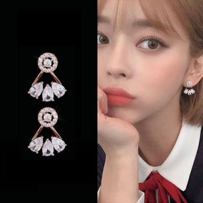 梨花HaNA 韓國925銀玫瑰金上下水滴晶透耳環