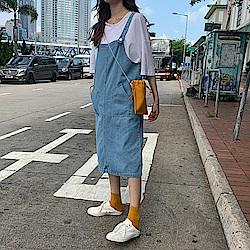 韓國空運 減齡牛仔吊帶裙-TMH