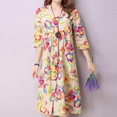 【韓國K.W.】民族風印花七分袖寬鬆棉麻洋裝(兩色可選)