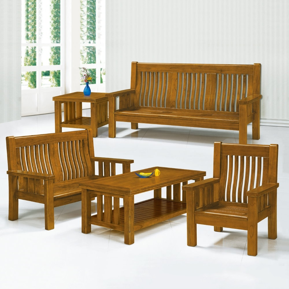 MUNA 7258型樟木色實木組椅(三人座)  192X74X102cm