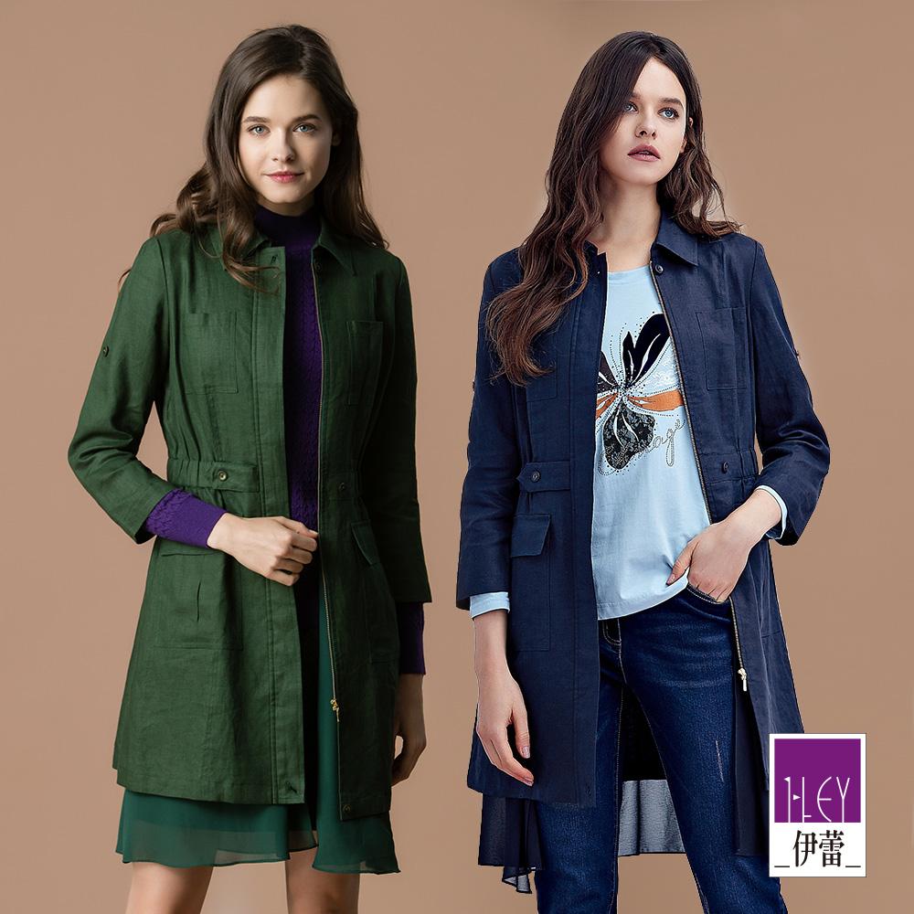 ILEY伊蕾 100%透氣亞麻雪紡造型長版外套(藍/綠)