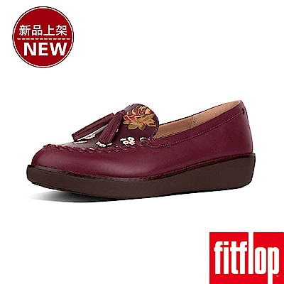 FitFlop PETRINA FLORAL MOCCASIN LOAFERS-紅