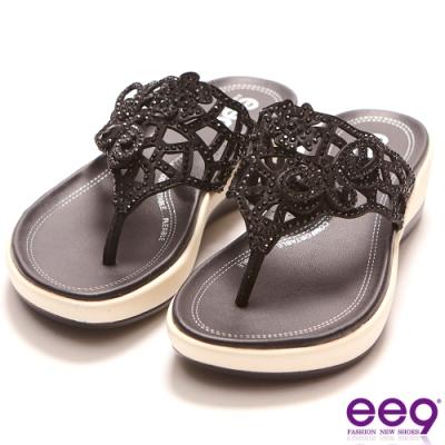 ee9 迷入視覺鑲嵌水鑽厚底夾腳拖鞋 黑色-562370  10